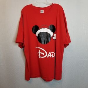 Mens Mickey Christmas Dad Hat Tee Shirt 3XL